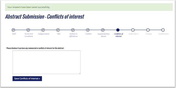 Abstract submission conflict of interest