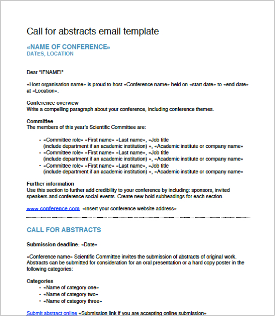 Free Download Call For Abstract Email Templates  Currinda